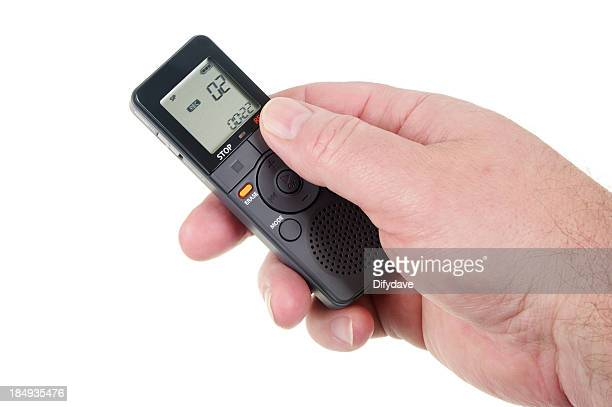 Mans Hand Holding Digital Voice Recorder