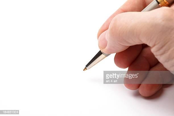 男性の手の署名は文書のコピースペース