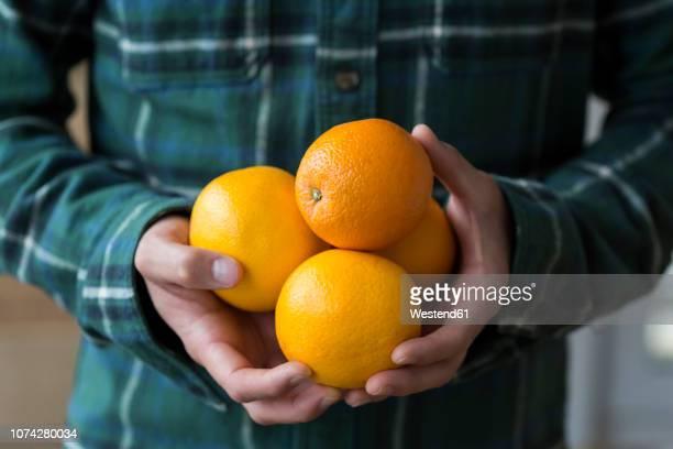 Man's hands holding four oranges, close-up