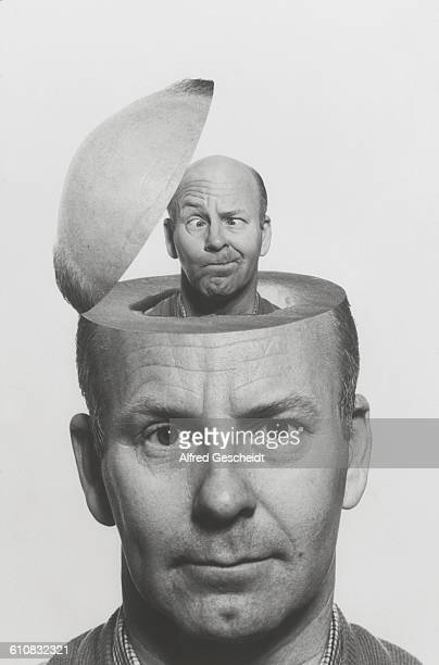 A man's head opens up to reveal a smaller version of himself inside circa 1985