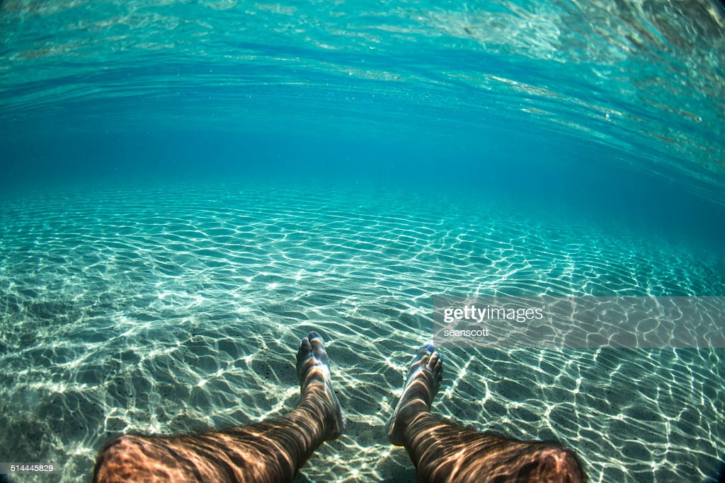 Man's legs underwater in the ocean : Stock Photo