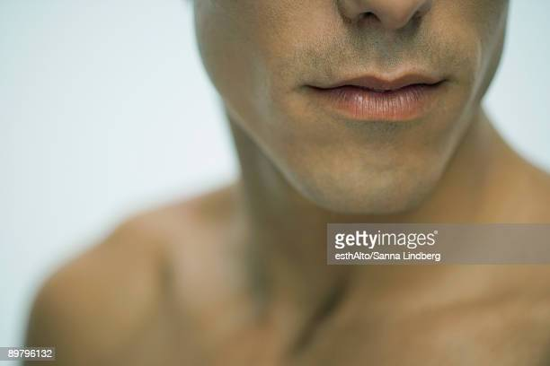 Man's mouth and chin, close-up
