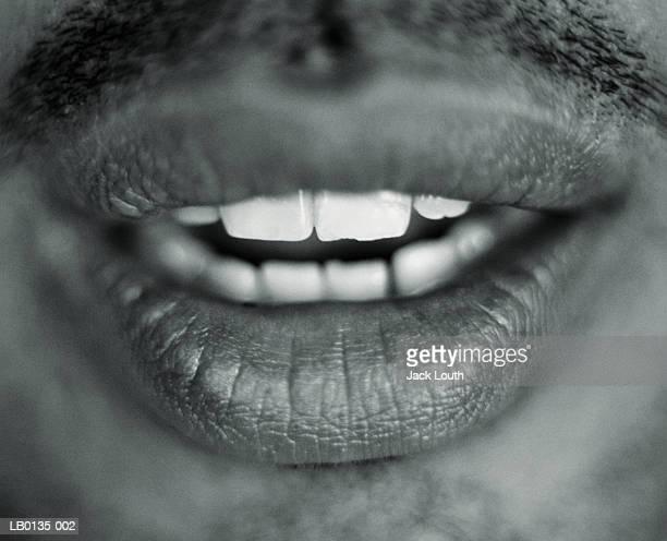 Man's open mouth, detail (B&W)
