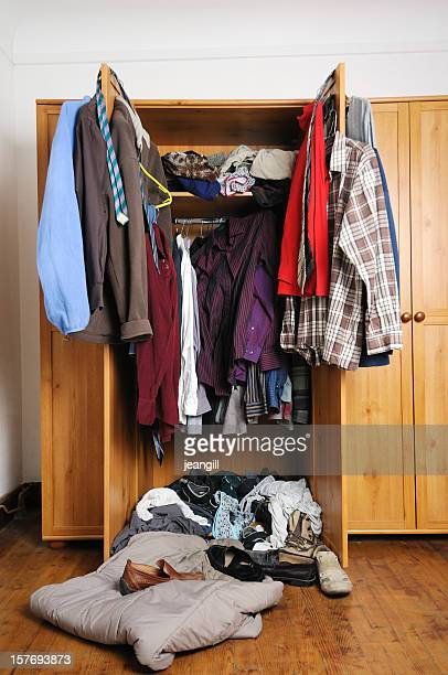 Man's untidy wardrobe