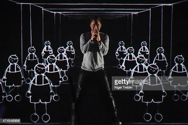 Mans Zelmerloew of Sweden performs after winning the Eurovision Song Contest 2015 on May 23 2015 in Vienna Austria The final of the Eurovision Song...