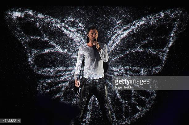 Mans Zelmerloew of Sweden performs on stage during the final of the Eurovision Song Contest 2015 on May 23 2015 in Vienna Austria The final of the...