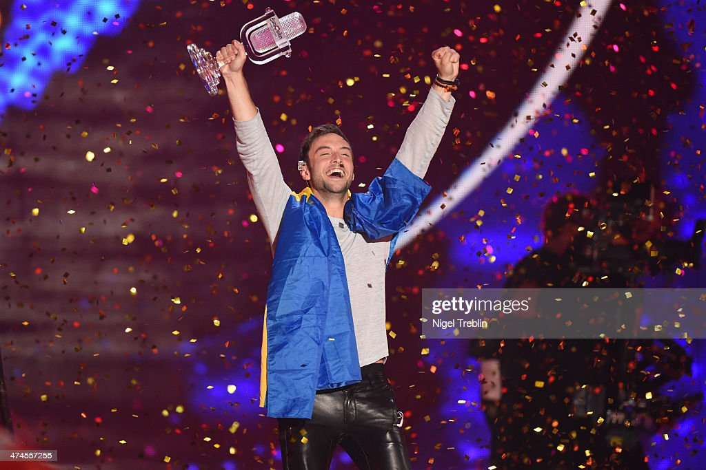 Mans Zelmerloew of Sweden reacts after winning on stage during the final of the Eurovision Song Contest 2015 on May 23, 2015 in Vienna, Austria. The final of the Eurovision Song Contest 2015 will take place on May 23, 2015.