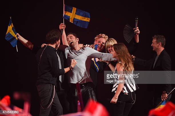 Mans Zelmerloew of Sweden reacts after winning the final of the Eurovision Song Contest 2015 on May 23 2015 in Vienna Austria The final of the...