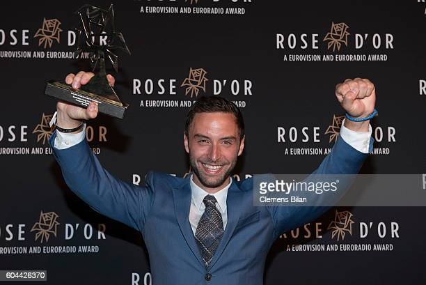 Mans Zelmerloew poses with the award during the 55th Rose d'Or Award at AxicaKongress und Tagungszentrum on September 13 2016 in Berlin Germany