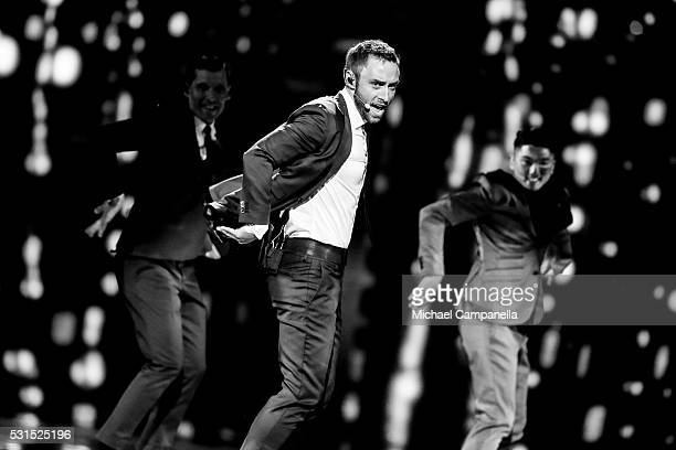 Mans Zelmerlow is seen during Eurovision song contest final on May 14 2016 in Stockholm Sweden