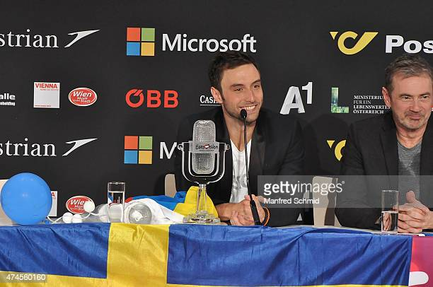 Mans Zelmerlow of Sweden speaks to the audience during the press conference after winning the Eurovision Song Contest final on May 23 2015