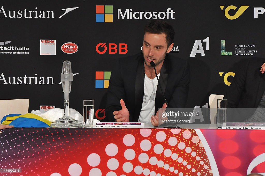 Mans Zelmerlow of Sweden speaks to the audience during the press conference after winning the Eurovision Song Contest final on May 23, 2015.