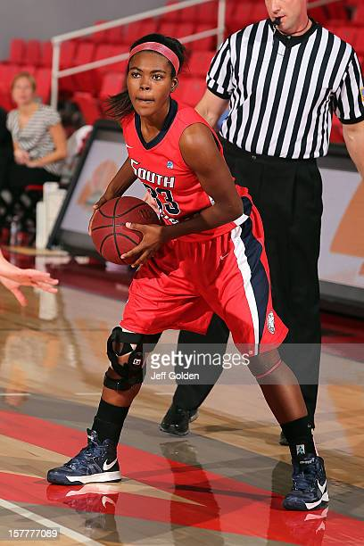Mansa El of the South Alabama Jaguars looks to play the ball against the Detroit Titans at The Matadome on November 24 2012 in Northridge California...