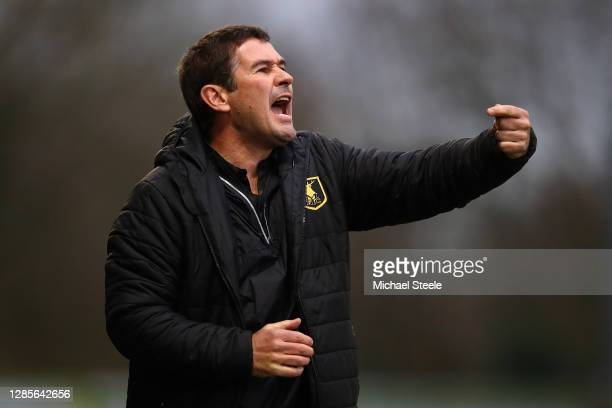Mansfield manager Nigel Clough shouts instructions during the Sky Bet League Two match between Forest Green Rovers and Mansfield Town at The New Lawn...