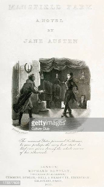 Mansfield Park by Jane Austen frontispiece Caption 'The moment Yates perceived Sir Thomas he gave perhaps the very best start he had ever given...