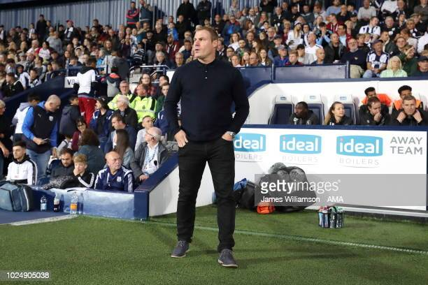 Mansfield Town manager head coach David Flitcroft during the Carabao Cup Second Round match between West Bromwich Albion and Mansfield Town at The...