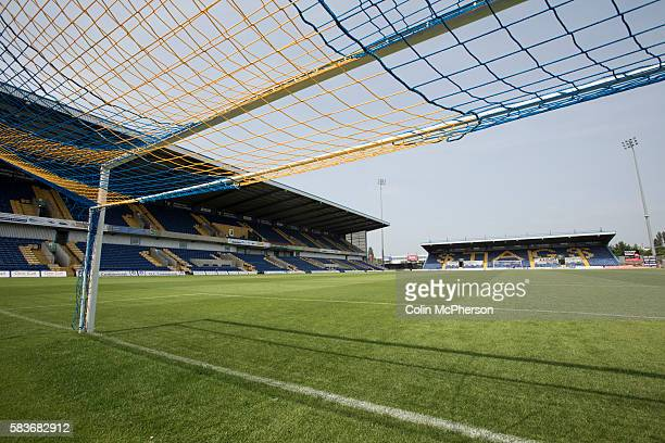 Mansfield Town's Field Mill stadium with the Ian Greaves Stand standing ready for the new season during an open day held for the club's supporters....