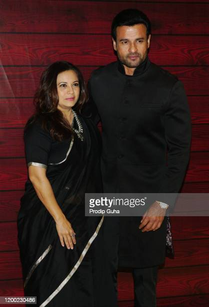 Manshi and Rohit Roy attend the Javed Akhta's 75th birthday celebration on January 17 2020 in Mumbai India