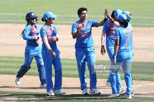 Mansi Joshi of India celebrates the wicket of Sophie Devine of the White Ferns during the Women's International T20 Game 3 between New Zealand and...