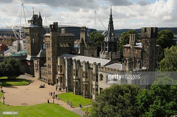 mansion and clock-tower, cardiff castle, wales - cardiff wales stock pictures, royalty-free photos & images