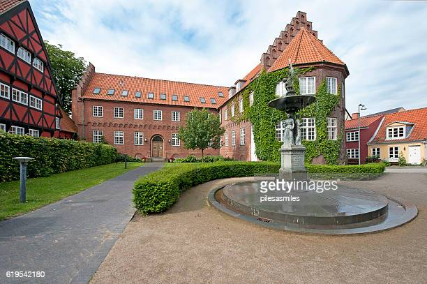 mansion and fountain, aalborg,denmark - aalborg stock pictures, royalty-free photos & images