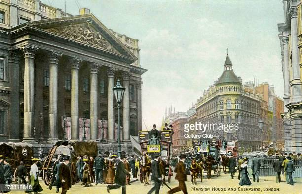 Mansion House and Cheapside London UK Early 20th century