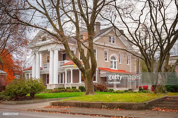 mansion in upscale residential area charleston west virginia usa - charleston west virginia stock photos and pictures