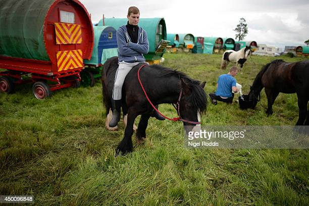A mansits on a horse during the Appleby Horse Fair on June 5 2014 in Appleby England The Appleby Horse Fair has existed under the protection of a...