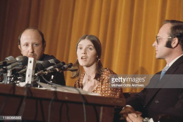 Manson family member Linda Kasabian star witness in the Sharon Tate and LaBianca murder trial at a press conference in Los Angeles after being...