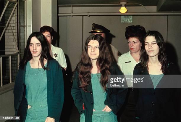 Manson family members and murder suspects Susan Atkins, Patricia Krenwinkle, and Leslie van Houton.
