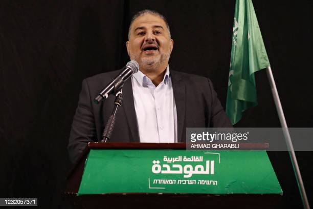 Mansour Abbas, head of Israel's conservative Islamic Raam party, speaks during a press conference in the northern city of Nazareth, on April 1, 2021....