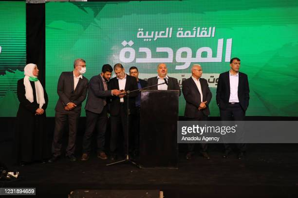 Mansour Abbas , leader of the United Arab List , speaks during a conference in the northern Israeli city of Tamra on March 23 after the end of voting...