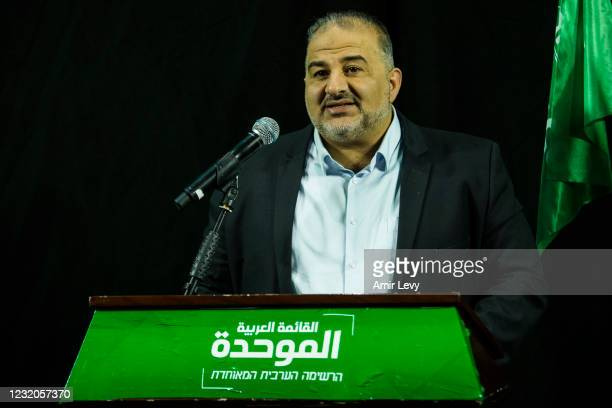 Mansour Abbas the head of the United Arab Party delivers a speech on April 1, 2021 in Nazareth, Israel. After last week's general election - the...