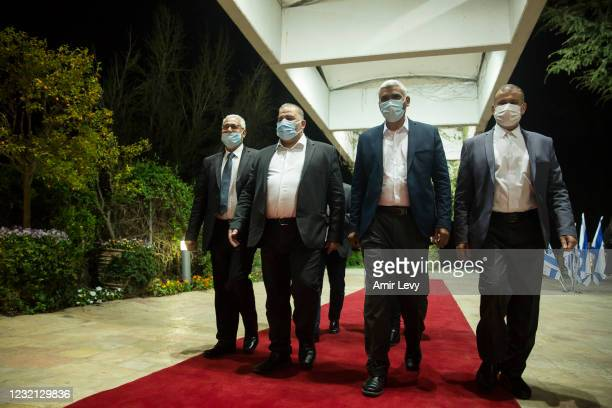 Mansour Abbas, United Arab Party leader and other party members attend a meeting with President Reuven Rivlin at the President's residence on April...