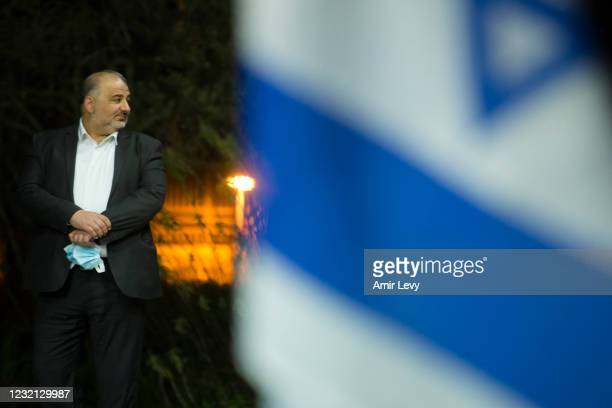 Mansour Abbas, United Arab Party leader attends a meeting with President Reuven Rivlin at the President's residence on April 5, 2021 in Jerusalem,...