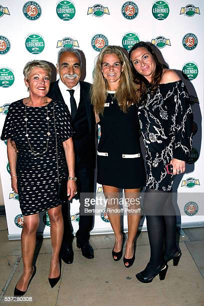 Mansour Bahrami and his wife Frederique and Arantxa Sanchez and guest attend the Trophy of the Legends Perrier Party at Pavillon Vendome on June 1,...
