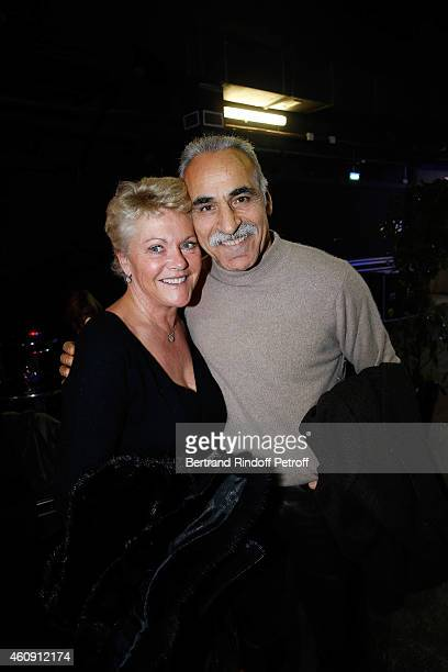 Mansour Bahrami and his wife Frederique attend in Backstage the Laurent Gerra Show at Palais des Sports on December 27 2014 in Paris France