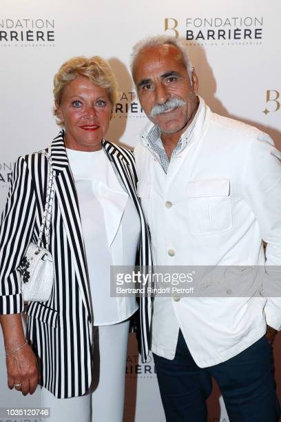 Mansour Bahrami and his wife Frederique attend 'Les Chatouilles' Premiere hosted by Fondation Diane Lucien Barriere at Drugstore Publicis Cinema on...