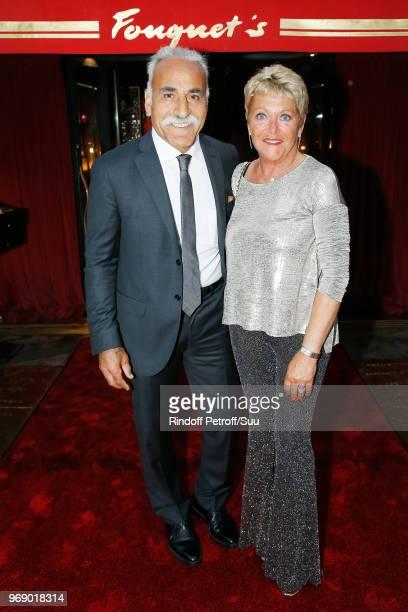 """Mansour Bahrami and his wife Frederique Bahrami attend """"Diner des Legendes"""" at Le Fouquet's on June 6, 2018 in Paris, France."""