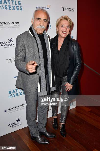 """Mansour Bahrami and his wife Frederique Bahrami attend the """"The Battle Of The Sexes"""" Paris Premiere at Publicis Champs Elysees on November 14, 2017..."""