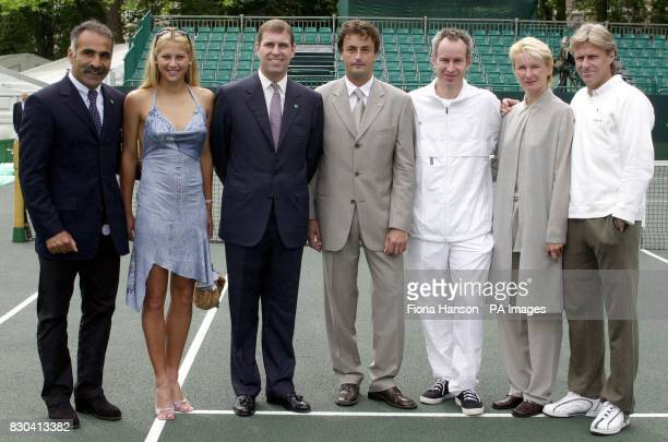 Mansour Bahrami Anna Kournikova Duke of York Henri Leconte John McEnroe Jana Novotna and Bjorn Borg on Buckingham Palace tennis court before the...