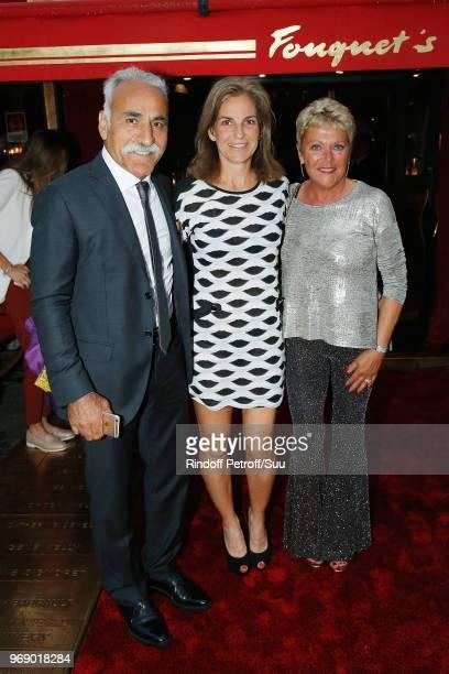 Mansour Bahrami Arantxa Sanchez and Frederique Bahrami attend Diner des Legendes at Le Fouquet's on June 6 2018 in Paris France