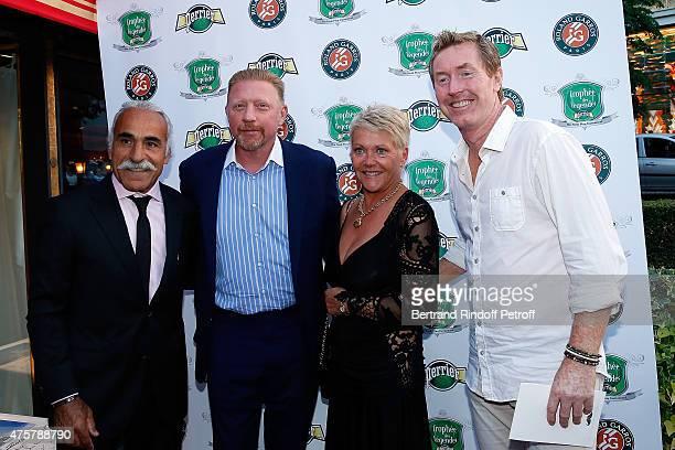 Mansour Bahrami, Boris Becker, Frederique Bahrami and Mark Woodforde attend the Trophee des Legendes Dinner at Le Fouquet's, champs Elysees on June...