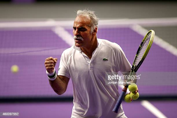 Mansour Bahrami celebrates winning a point during the Legends Exhibition Doubles match between Tim Henman and Andrew Castle against Mansour Bahrami...