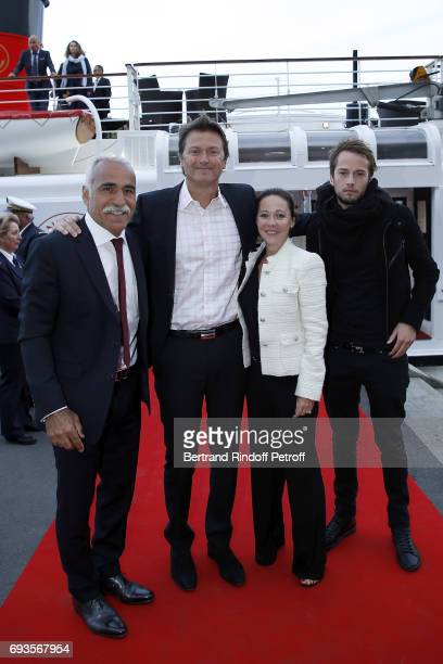 Mansour Bahrami Eric Winogradsky his wife and his Son Hugo attend 'Trophee des Legendes' Dinner at Le Paquebot on June 7 2017 in Paris France
