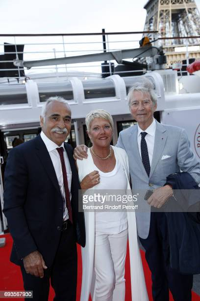 "Mansour Bahrami, his wife Frederique Bahrami and Jean-Claude Narcy attend ""Trophee des Legendes"" Dinner at Le Paquebot on June 7, 2017 in Paris,..."