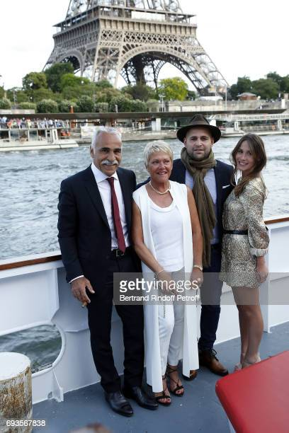 Mansour Bahrami his wife Frederique Bahrami his Son Sam Bahrami and his partner Gabrielle attend 'Trophee des Legendes' Dinner at Le Paquebot on June...
