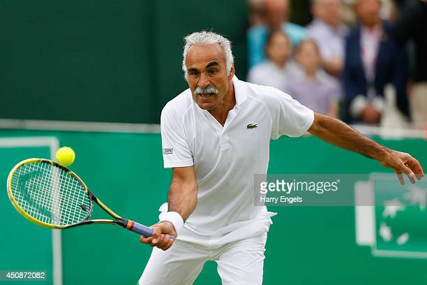 Mansour Bahrami in action during his Men's Doubles exhibition match against Pat Cash and Peter McNamara at the BNP Paribas Tennis Classic at the...