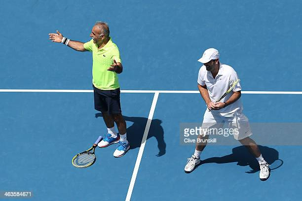 Mansour Bahrami in action in his second round legends doubles match with Cedric Pioline against Pat Cash and Mats Wilander during day seven of the...