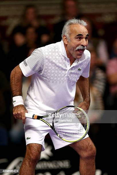 Mansour Bahrami jokes with the crowd during the Mens Doubles match between Mansour Bahrami and Andrew Castle against Pat Cash and Peter McNamara on...